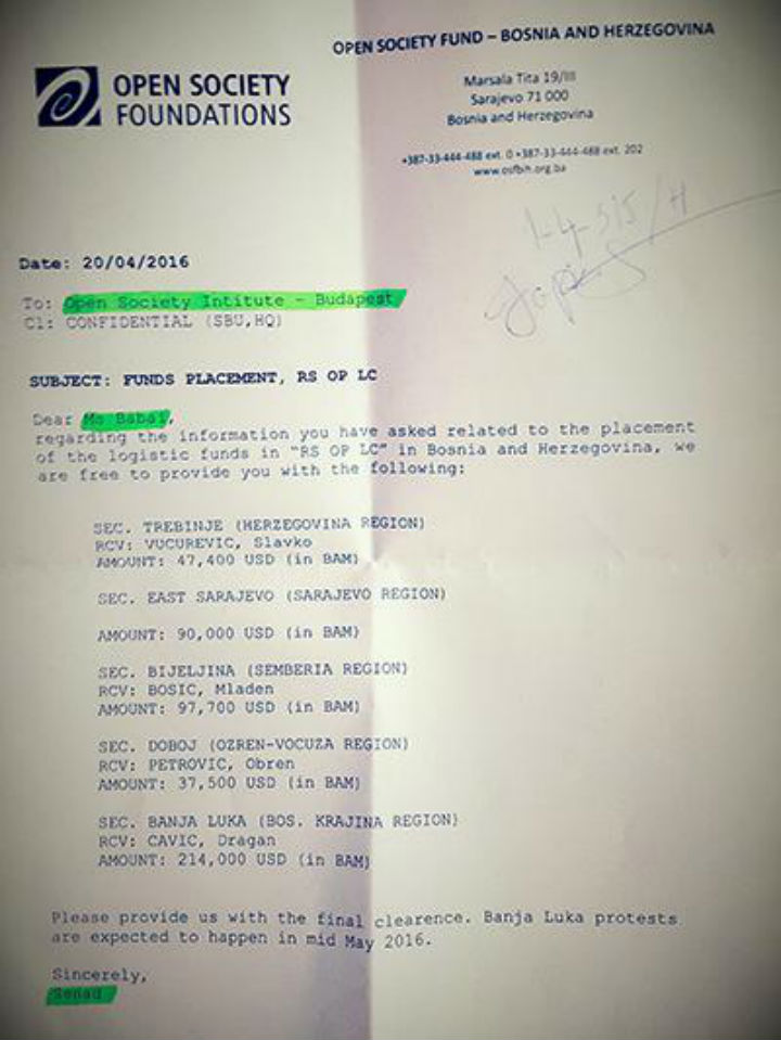 """Dokument fondacije """"Otvoreno društvo"""" (foto: pressrs.ba)"""