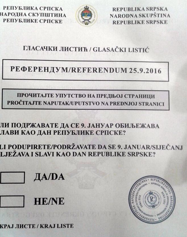 Изглед гласачког листића за референдум (Фото: РТРС)