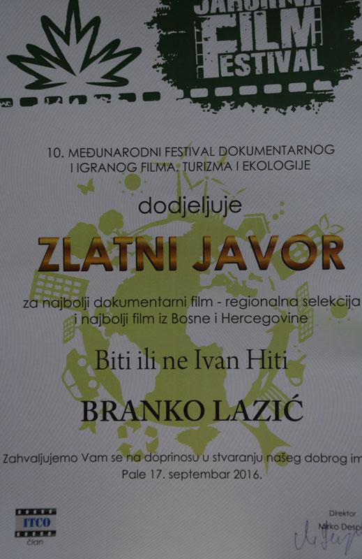10. Јахорина филм фестивал-Златни јавор за Бранка Лазића  (Фото: РТРС)