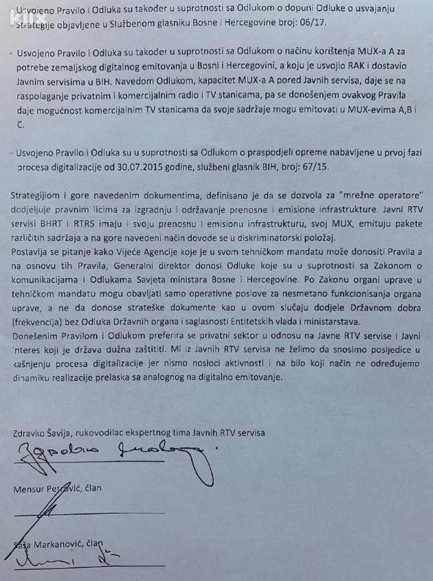 Pismo Ministarstvu komunikacija i transporta BiH (Foto: Kliks)