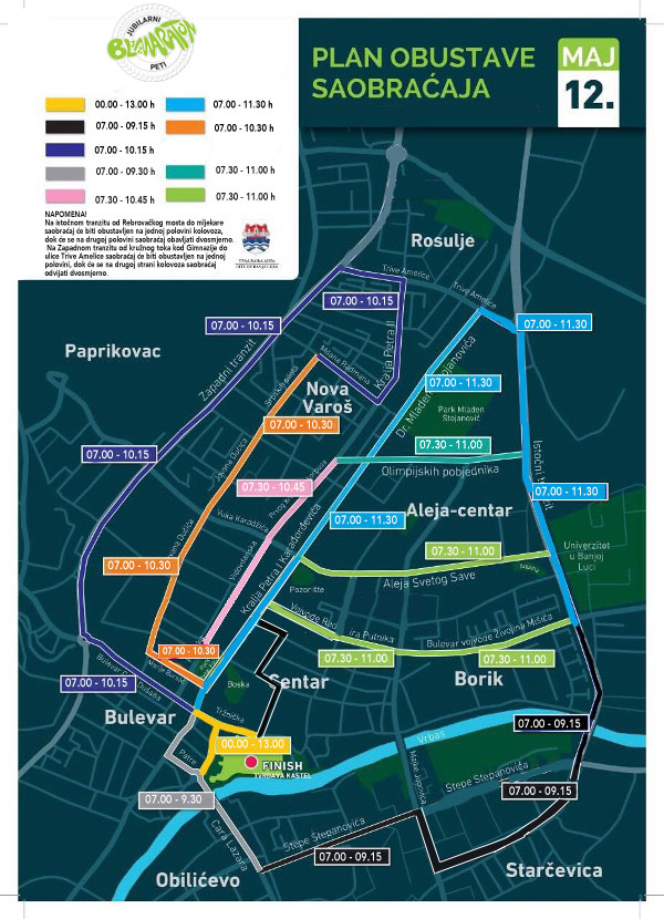 Бањалука: Мапа обустава саобраћаја
