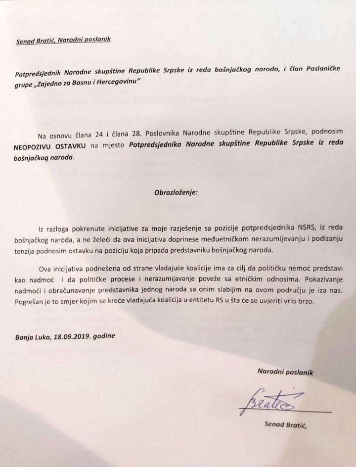 Neopoziva ostavka Bratića (Foto: RTRS)