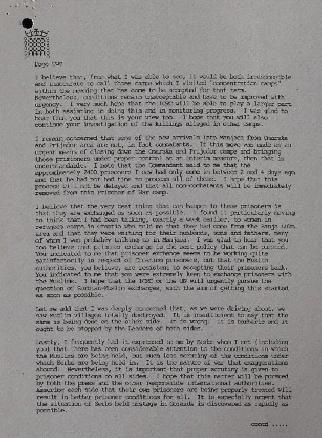 Писмо Караџићу (Фото: Тhe National Archives)