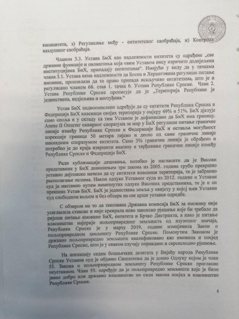 Informacija u vezi antidejtonskog djelovanja Ustavnog suda BiH