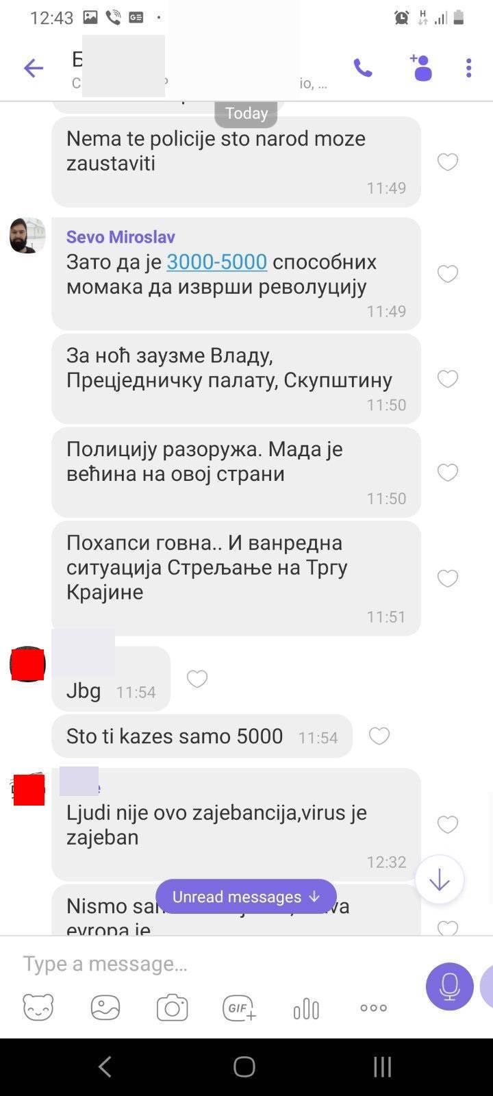 Дописивање у Вајбер групи
