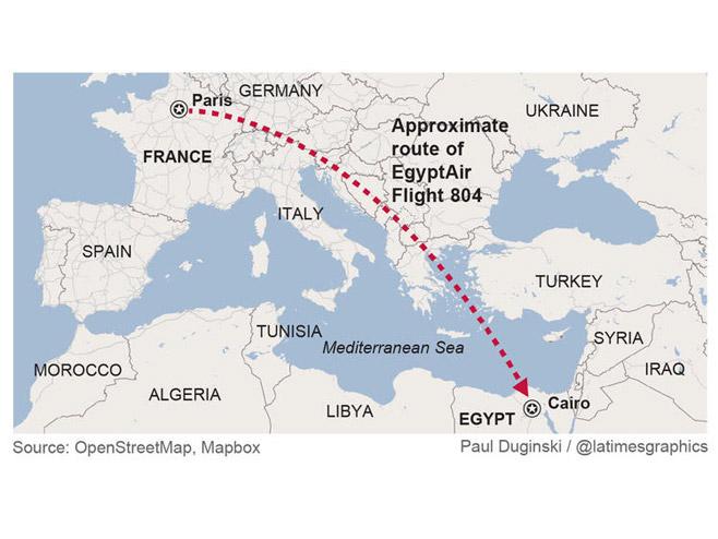 Нестао путнички авион на лету Париз-Каиро -