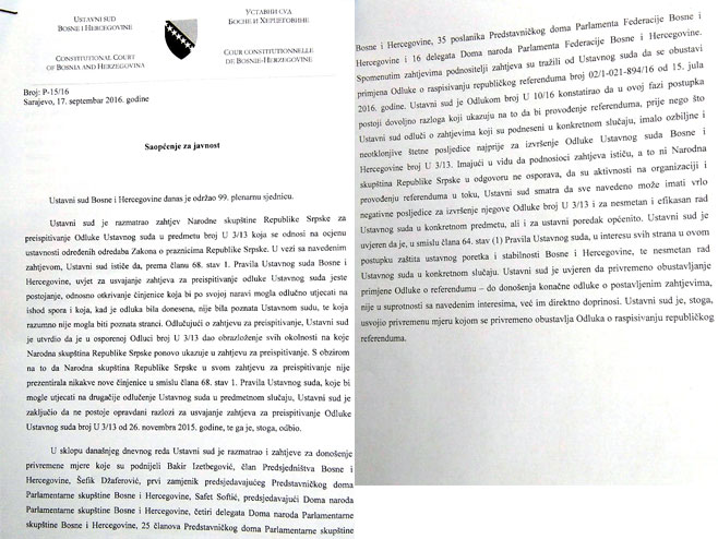 Саопштење Уставног суда БиХ - Фото: РТРС