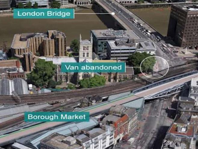 """Локације напада – Лондонски мост, мјесто на којем је остављен комби, и тржница """"Бороу"""""""