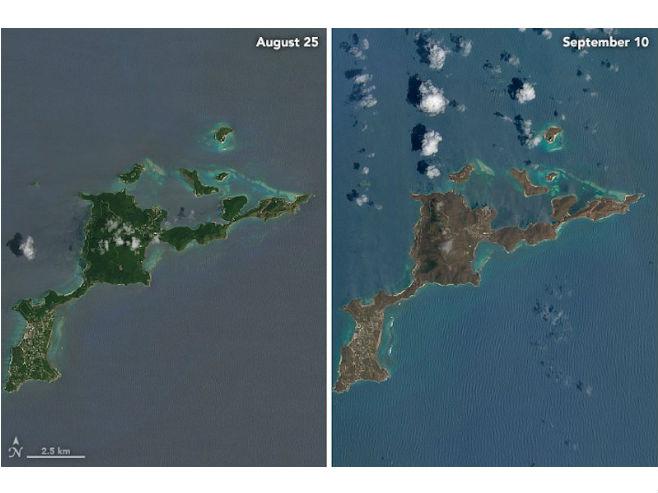 """Британска Дјевичанска Острва прије и након урагана """"Ирма"""" (Фото: NASA Earth Observatory)"""
