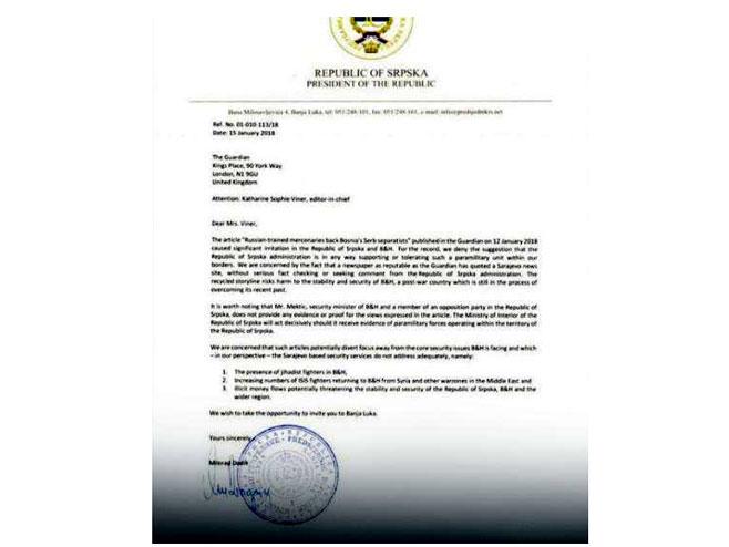 Pismo Dodika Gardijanu
