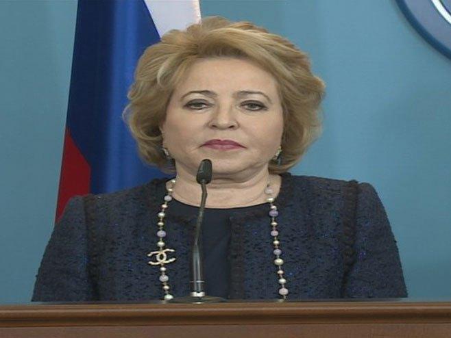 Валентина Матвијенко на прес конференцији