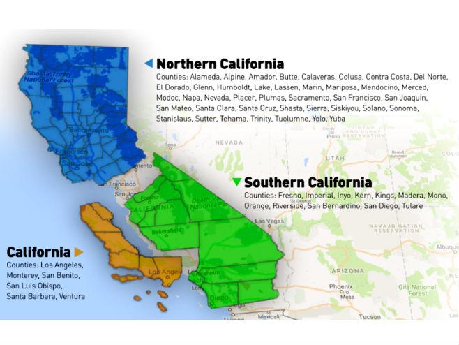 Подје4ла Калифорније на три државе (Фото. Courtesy Google Maps) -