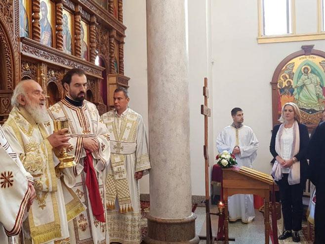 Патријарх Иринеј и премијерка Цвијановић (Фото: РТРС)