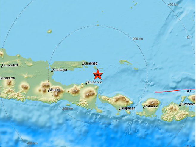 Zemljotres kod Balija (Foto: www.emsc-csem.org)