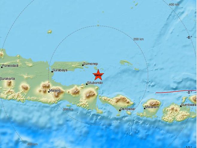 Земљотрес код Балија (Фото: www.emsc-csem.org)