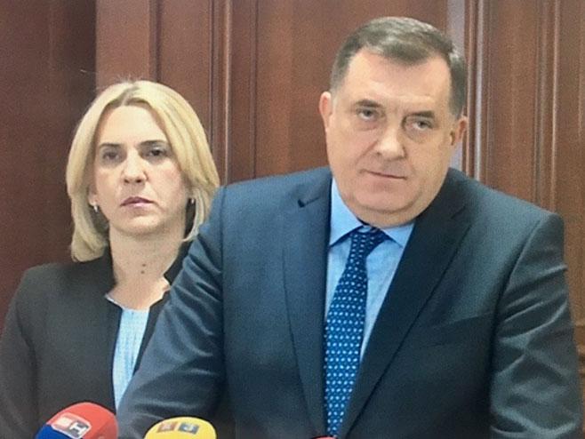 Milorad Dodik, Željka Cvijanović - pres (Foto: RTRS)