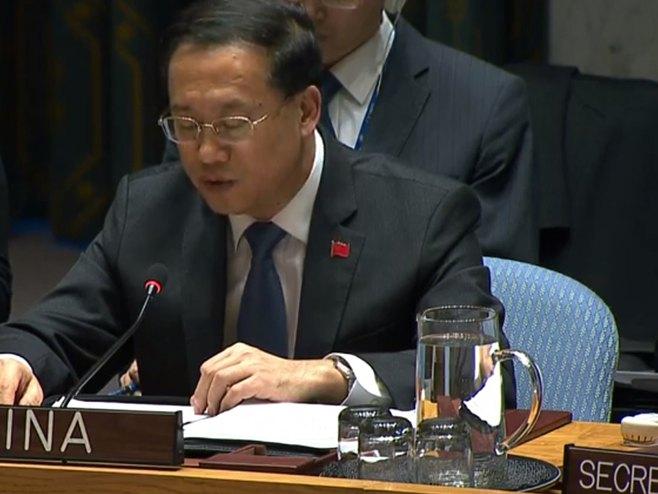 Ambasador Kine pri UN Ma Žaohsu (Foto: Screenshot)
