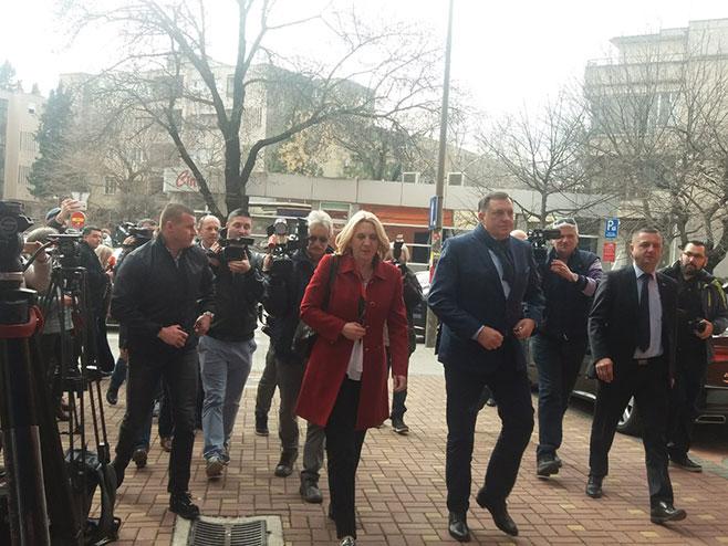 Dodik i Cvijanovićeva u Mostaru sa Čovićem (Foto: RTRS)