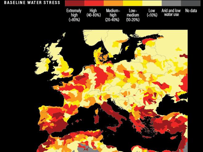 Несташица воде у Европи (Фото: World Resources Institute)