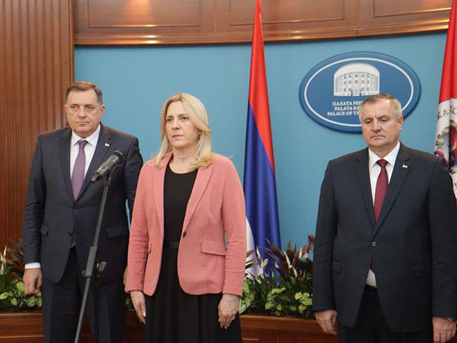 Dodik, Cvijanovićeva, Višković (Foto: RTRS)