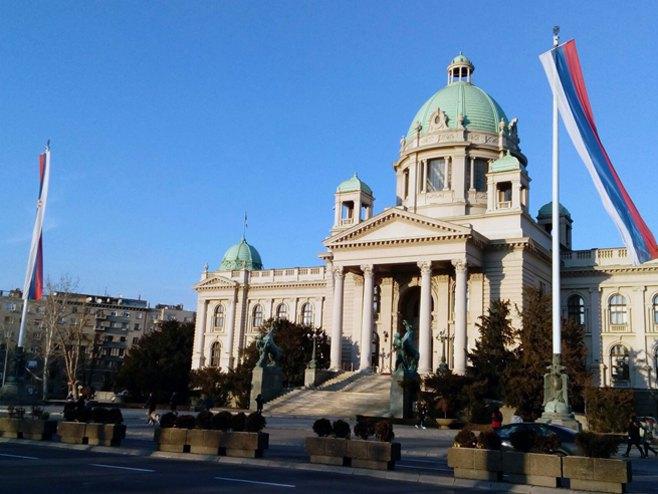 Beograd: Zastava Srbije i Srpske - Foto: SRNA