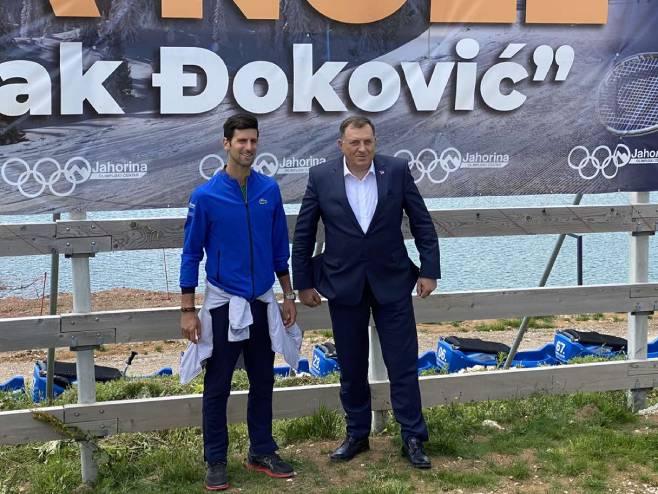 Додик и Ђоковић на Јахорини (Фото: РТРС)