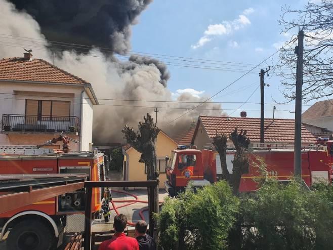 Požar u Inđiji (foto: RTV (Marko Kalinić))