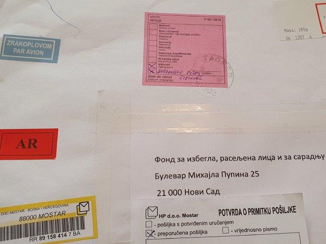 Pisana pošiljka adresirana ćirilicom - Foto: SRNA